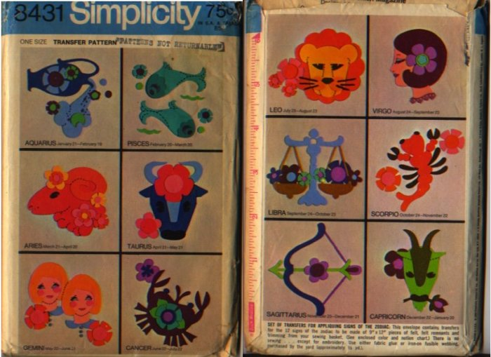 Simplicity 8431 Transfer Pattern for Appliquing Signs of the Zodiac