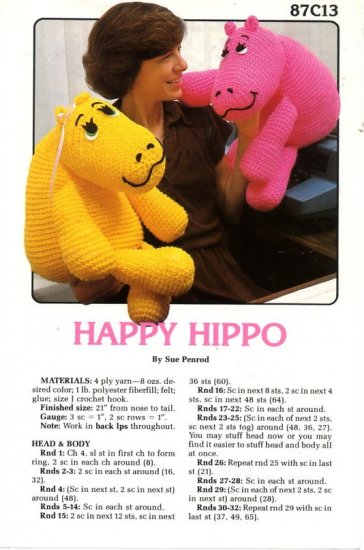 Happy Hippo by Sue Penrod - Crochet Pattern 87C13 Annie's Attic