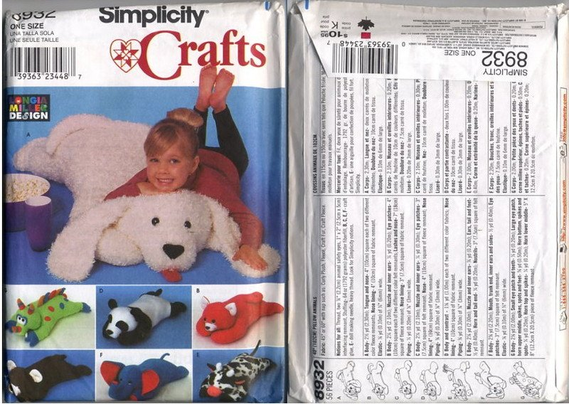 Simplicity Crafts 8932 Pillow Animals Patterns - 7 styles - uncut