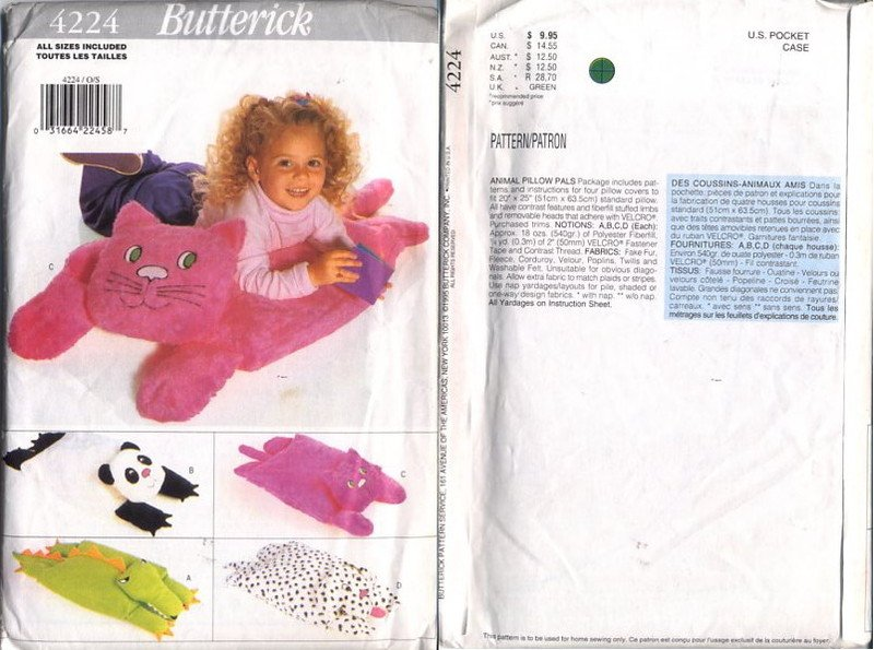Butterick 4224 Animal Pillow Cover Patterns - 4 styles - uncut