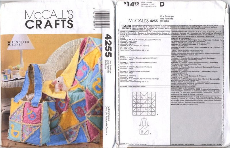 McCall's Crafts 4255 Rag Quilt and Diaper Bag for Baby Pattern - uncut