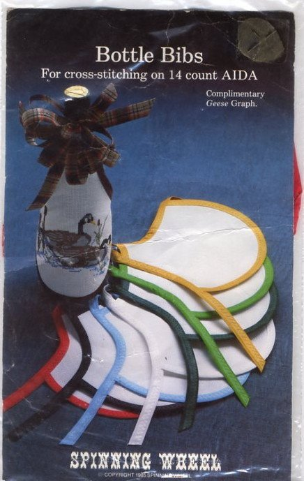 Counted Cross Stitch Bottle Bib - 14 Ct Aida - with Red edging