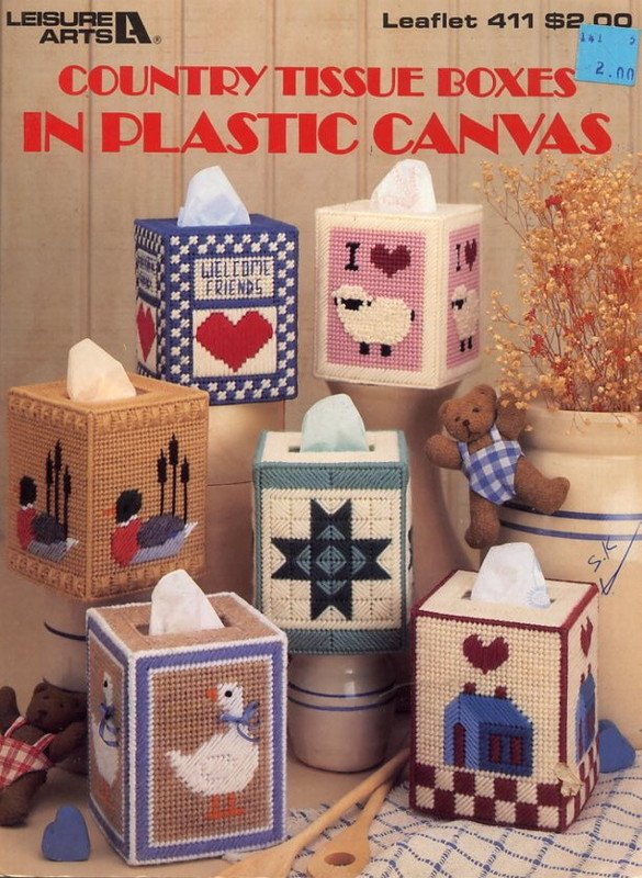 Country Tissue Boxes in Plastic Canvas Leaflet 411 Leisure Arts