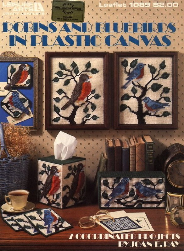 Robins and Bluebirds in Plastic Canvas Leaflet 1089 Leisure Arts