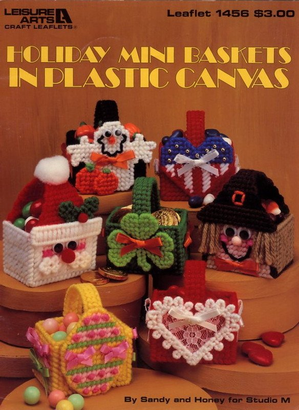 Holiday Mini Baskets in Plastic Canvas Leaflet 1456 Leisure Arts