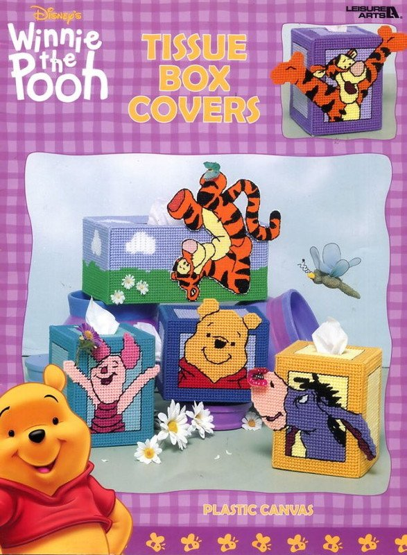 Winnie the Pooh Tissue Box Covers in Plastic Canvas Leaflet 1902 Leisure Arts