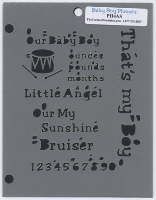 The Crafters Workshop Baby Boy Phrases Mini Template PH4AS