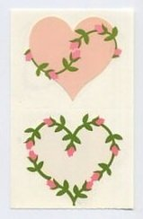 Mrs Grossman's Pink Heart Sticker with Roses 6A