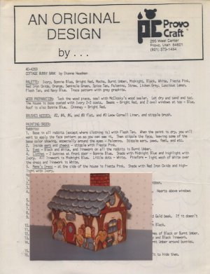 Dianne Headman Pattern - Cottage Bunny Bank - 40-4269 Provo Craft Tole