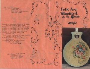 Mary Hegg Pattern - Folk Art Bluebird in the Roses - Acrylic