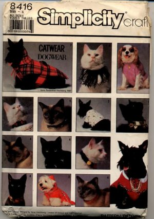 Simplicity Crafts 8416 Catwear & Dogwear Patterns - Uncut