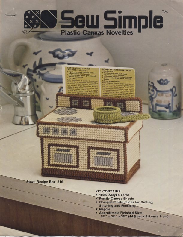 Sew Simple Plastic Canvas Stove Recipe Box Pattern Only