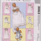 McCall's 3063 Infants' Christening Gowns and Rompers Sz Newborn, Sm, Med, Lg - Uncut