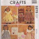 "McCalls 3275 18"" Doll Clothes and Craft Projects Pattern  - Uncut"