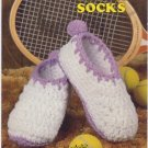 Annie's Attic Big Foot Boutique II Tennis Socks Crochet Pattern 446