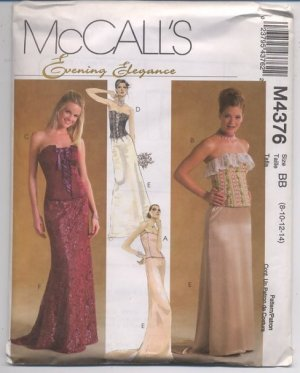 McCall's M4376 Evening Elegance Misses Lined Tops and Skirts Pattern Size BB (8, 10, 12, 14) Uncut