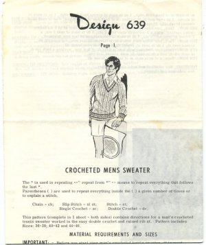 Design 639 Crocheted Mens Sweater Pattern