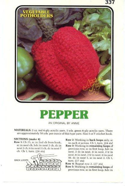 Annie S Attic Vegetable Potholders Pepper Crochet Pattern 337