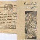Laura Wheeler Design 988 Crocheted Filet Crochet Cloth Vintage Pattern