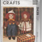 "McCall's Crafts 2439 20"" Raggedy Ann & Andy Dolls with Case Pattern - uncut"