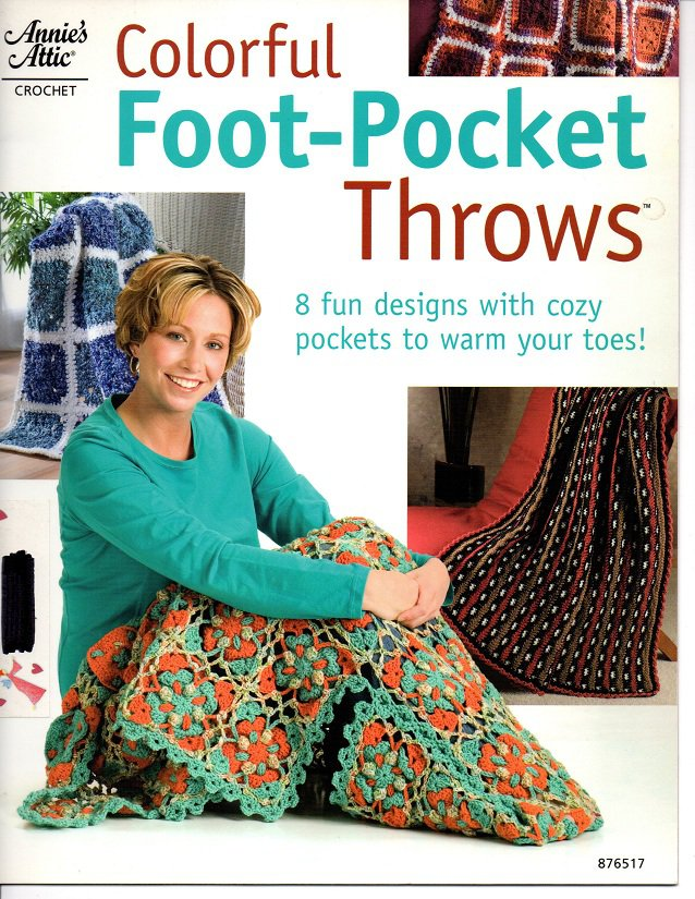 Annie's Attic Colorful Foot-Pocket Throws Pattern 876517