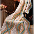 Annie's Attic Diamonds & Popcorn Afghan Crochet Pattern 8B014