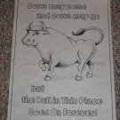Cow Sampler # 7582 Tri Chem Preshaded Picture & Chart