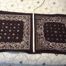 Black Bandanna Fabric 2 designs - 7 sets - 100% Cotton