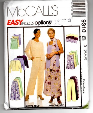 Easy McCall's 9310 Misses' Unlined Jacket, Pants, Skirt & Scarf Pattern Size D (12, 14, 16) Uncut