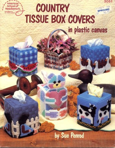 Country Tissue Box Covers in Plastic Canvas Patterns ASN 3051