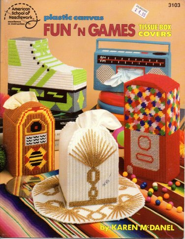 Plastic Canvas Fun'n Games Tissue Box Covers Patterns American School of Needlework 3103