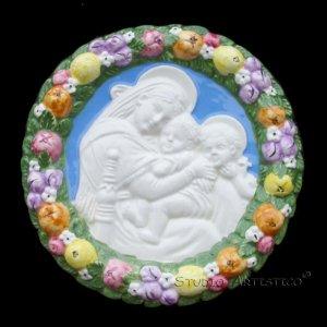 "[S08 N] 6,1-8"" Italian Della Robbia Virgin w/ child & baby St.John (Madonna of the chair) ceramic"
