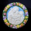"[S08 A] 6,1-8"" Italian Della Robbia Virgin w/ child & baby St.John (Madonna of the chair) ceramic"