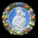 """[S13 N] 15"""" Italian Della Robbia ceramic plaque Madonna with child"""