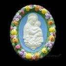"[S26 N] 6,1/8"" Italian Della Robbia ceramic plaque Madonna with child"