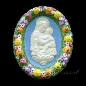 """[S26 N] 6,1/8"""" Italian Della Robbia ceramic plaque Madonna with child"""
