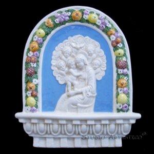 """[S63 A] 10"""" x 8,1/4"""" Italian Della Robbia ceramic. Madonna with child (Virgin of Boccadirio) Italy"""