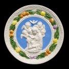 """[S70 N] 7,1/2"""" Madonna. Italian Della Robbia wall plaque, Ceramic. Italy."""