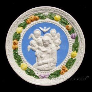 """[S70 A] 7,1/2"""" Madonna. Italian Della Robbia wall plaque, Ceramic. Italy."""