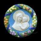 "[S88 A] 9"" Italian Della Robbia ceramic wall plaque Madonna with child"