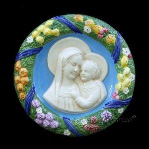 """[S88 A] 9"""" Italian Della Robbia ceramic wall plaque Madonna with child"""