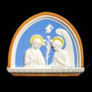 "[S92 A] 11,3-4""X9,1/2"" Italian Della Robbia ANNUNCIATION ceramic wall plaque"