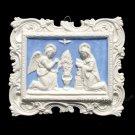 "[S107 N] 9,1/2"" x 11"" Italian Della Robbia ANNUNCIATION ceramic wall plaque"