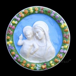 "[S135 A] 12"" Italian Della Robbia wall plaque Madonna with child. Majolica, italy."