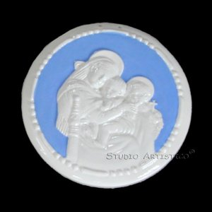 "[S154 N] 6,3/4"" Italian Della Robbia ceramic Madonna child and baby St. John (Madonna of the chair)"