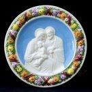 """[S67 A] 9,3/4"""" Italian hand made Della Robbia ceramic wall plaque HOLY FAMILY"""