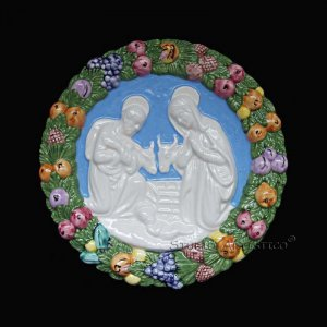 [S109 N] 7,1/2� Nativity Italian hand made Della Robbia ceramic