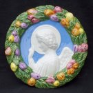 "[S56 N] 6,1/2"" Della Robbia ceramic plaque ANGEL Hand made in Italy"