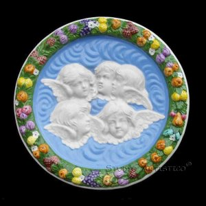 [S89 (N)] 11,3/4� Della Robbia ceramic plaque ANGELS Hand made in Italy