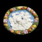 "[S91 N] 8""x6,3/4"" Della Robbia ceramic plaque Babies (cherubs) playing with a dog. Italy"